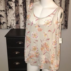 Old Navy floral tank top with ruffle trim NWT